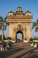 Patuxai is one of Vientiane's most impressive landmarks;  this arch is called Patuxai or Victory Gate similar in style to the Arc de Triomph in Paris though the decorations are typically Lao in style with mythological creatures as kinnaree and the three headed elephant Erawan.  There is a small Sala in the adjacent park where the World Peace Gong is found.