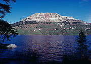 Beartooth Butte rising above Beartooth Lake, Shoshone National Forest, Wyoming.