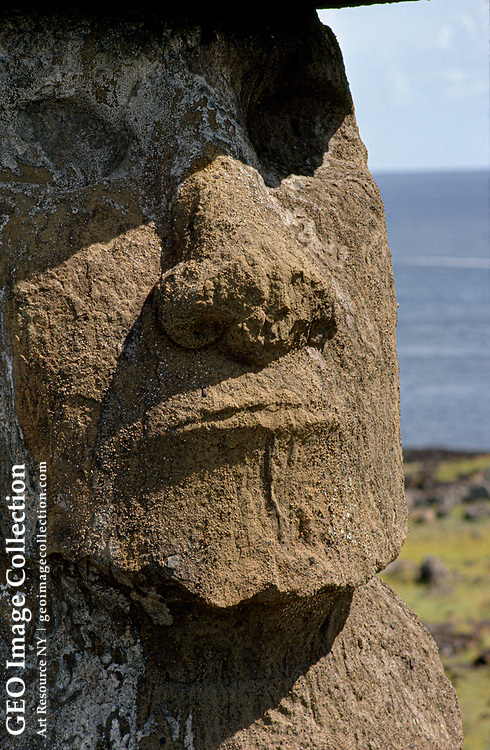 A moai, a stone sculpture created by ancient people.