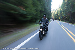 "Robert Gustavsson or ""Big Swede"" as he is fondly known, riding his 1931 Harley-Davidson VL during Stage 16 (142 miles) of the Motorcycle Cannonball Cross-Country Endurance Run, which on this day ran from Yakima to Tacoma, WA, USA. Sunday, September 21, 2014.  Photography ©2014 Michael Lichter."