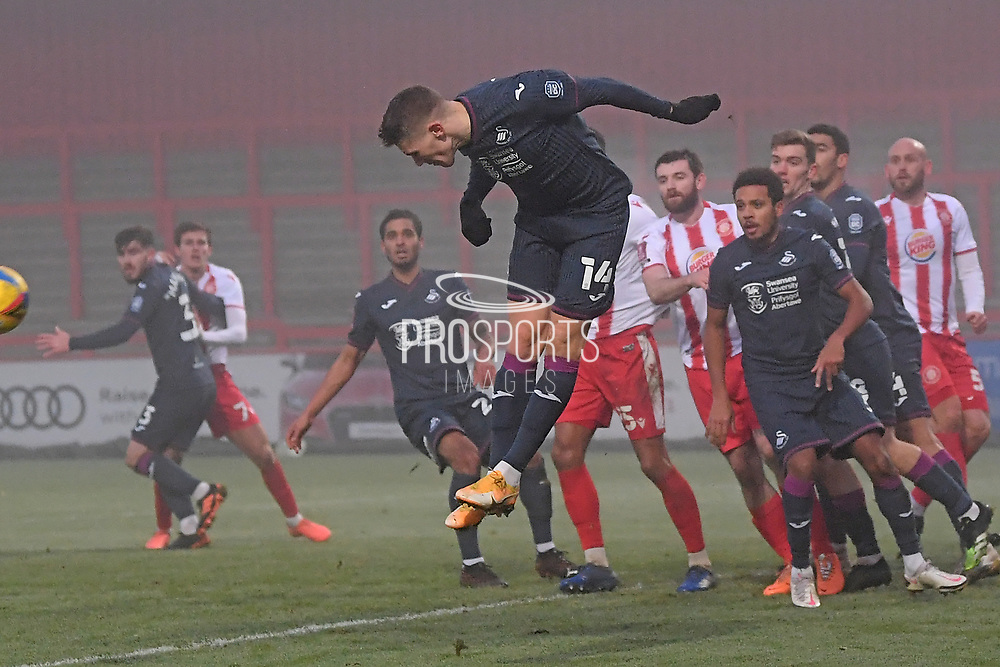 Swansea City forward Viktor Gyökeres(14) heads the ball during the FA Cup match between Stevenage and Swansea City at the Lamex Stadium, Stevenage, England on 9 January 2021.