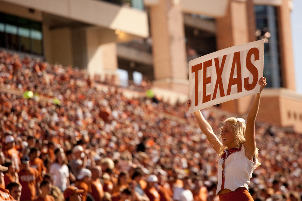 Texas Longhorn Cheerleaders. University of Central Florida Knights at Texas Longhorns. Photographed at Darrell K. Royal-Texas Memorial Stadium in Austin, Texas on Saturday, November 7, 2009. Photograph © 2009 Darren Carroll