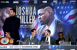 Jarrell Miller (right) during the press conference at Hilton London Syon Park.