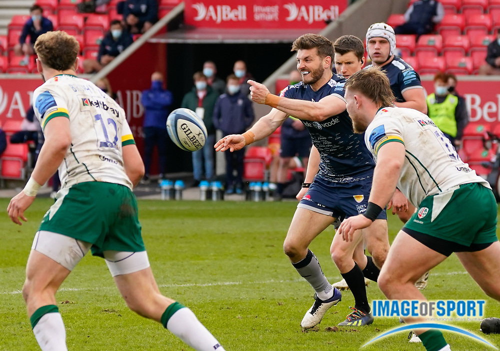 Sale Sharks Will Cliff passes the ball during a Gallagher Premiership Round 14 Rugby Union match, Sunday, Mar 21, 2021, in Eccles, United Kingdom. (Steve Flynn/Image of Sport)