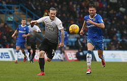 Jack Marriott of Peterborough United in action with Luke O'Neill of Gillingham - Mandatory by-line: Joe Dent/JMP - 10/02/2018 - FOOTBALL - MEMS Priestfield Stadium - Gillingham, England - Gillingham v Peterborough United - Sky Bet League One