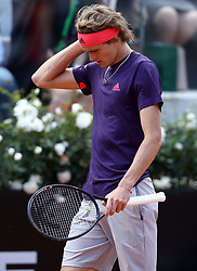 May 14, 2019 - Rome, Italy - Alexander Zverev (GER) dejection during the ATP Internazionali d'Italia BNL first round match at Foro Italico in Rome, Italy on May 14, 2019. (Credit Image: © Matteo Ciambelli/NurPhoto via ZUMA Press)