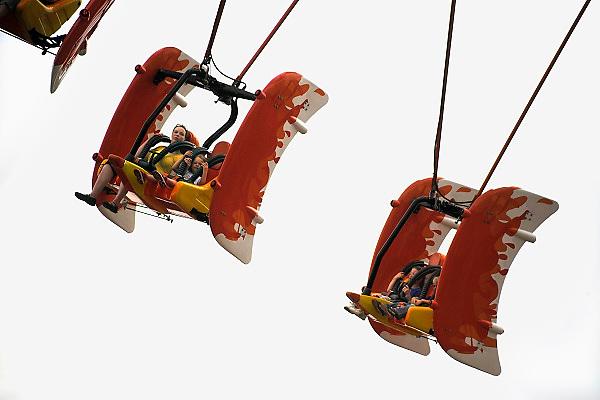 Duitsland, Bottrop, 17-7-2009Futuristische zweefmolen van het themapretpark Movie Park, movie world.Foto: Flip Franssen/Hollandse Hoogte