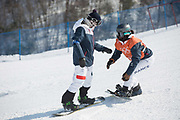 Lucile Lefevre, France, with coach during the snowboard slopestyle practice on the 8th February 2018 at Phoenix Snow Park for the Pyeongchang 2018 Winter Olympics in South Korea