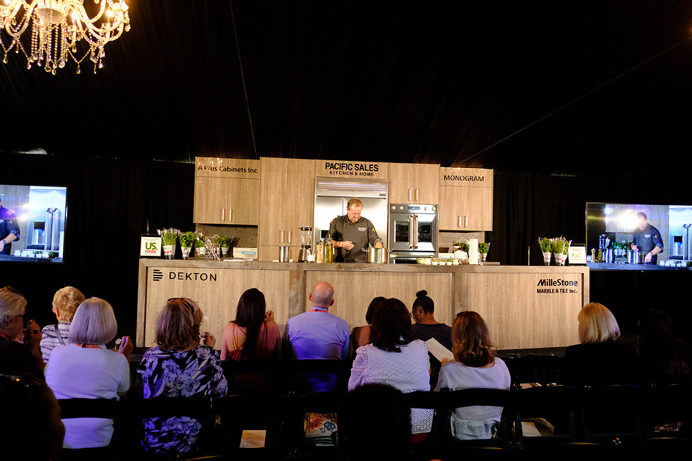 The 2018 Palm Desert Food and Wine Festival hosted by Palm Springs Life Magazine. Andrew Copley, owner of Copley's Restaurant in Palm Springs, CA, gives a chef demo during the second day of Food & Wine. Photos by Tiffany L. Clark