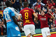 Nicolo' Zaniolo celebrates with his teammates after scoring 1-0 goal during the Italian championship Serie A football match between AS Roma and SSC Napoli at the Olympic Stadium, Saturday, Nov. 2, 2019, in Rome. Roma defeated Napoli 2-1.(Federico Proietti/Image of Sport)
