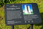 Donnington Castle ruins, Berkshire, England, UK - English Heritage information board