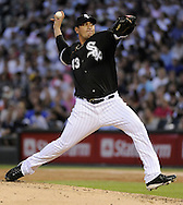 CHICAGO - AUGUST 18:  Freddy Garcia #43 of the Chicago White Sox pitches against the Kansas City Royals on August 18, 2009 at U.S. Cellular Field in Chicago, Illinois.  The Royals defeated the White sox 5-4.  (Photo by Ron Vesely)