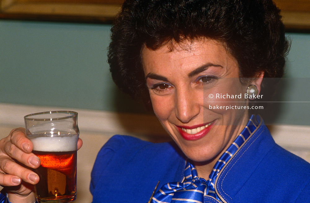 Junior Health Minister and Conservative MP, Edwina Currie at an alcohol awareness initiative in 1988 in London, England.