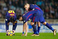 FC Barcelona's Leo Messi, Luis Suarez and Jordi Alba during La Liga match. January 14,2018. (ALTERPHOTOS/Acero)