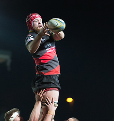Dragons' Joe Davies claims the lineout.<br /> <br /> Photographer Simon Latham/Replay Images<br /> <br /> Anglo-Welsh Cup Round Round 4 - Dragons v Worcester Warriors - Friday 2nd February 2018 - Rodney Parade - Newport<br /> <br /> World Copyright © Replay Images . All rights reserved. info@replayimages.co.uk - http://replayimages.co.uk