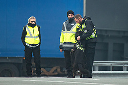 © Licensed to London News Pictures . 24/10/2016 . Calais , France . General View of security and sniffer dog at The Port of Calais , Northern France . Photo credit: Joel Goodman/LNP