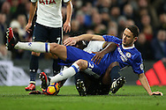 Victor Wanyama of Tottenham Hotspur and Nemanja Matic of Chelsea compete for the ball. Premier league match, Chelsea v Tottenham Hotspur at Stamford Bridge in London on Saturday 26th November 2016.<br /> pic by John Patrick Fletcher, Andrew Orchard sports photography.