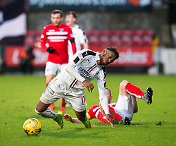 Falkirk's Myles Hippolyte tackled by Dunfermline's Andy Geggan. Dunfermline 1 v 1 Falkirk, Scottish Championship game played 26/12/2016 at East End Park.