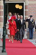 His highness prince Pieter-Christiaan of Oranje Nassau, of Vollenhoven and Ms drs. A.T. van Eijk get married  in the Great or St Jeroens Church in Noordwijk. <br /> <br /> <br /> Zijne Hoogheid Prins Pieter-Christiaan van Oranje-Nassau, van Vollenhoven en mevrouw drs. A.T. van Eijk treden in het (kerkelijk) huwelijk in de Grote St. Jeroenskerk in Noordwijk<br /> <br /> On the photo/Op de foto:<br /> <br /> <br /> <br /> Zijne Koninklijke Hoogheid de Prins van Oranje <br /> Hare Koninklijke Hoogheid Prinses Máxima der Nederlanden<br /> <br /> His royal highness the prince of oranje her royal highness princess Máxima of the The Netherlands
