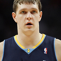 26 March 2012: Denver Nuggets center Timofey Mozgov (25) is seen during the Denver Nuggets 108-91 victory over the Chicago Bulls at the United Center, Chicago, Illinois, USA. NOTE TO USER: User expressly acknowledges and agrees that, by downloading and or using this photograph, User is consenting to the terms and conditions of the Getty Images License Agreement. Mandatory Credit: 2012 NBAE (Photo by Chris Elise/NBAE via Getty Images)