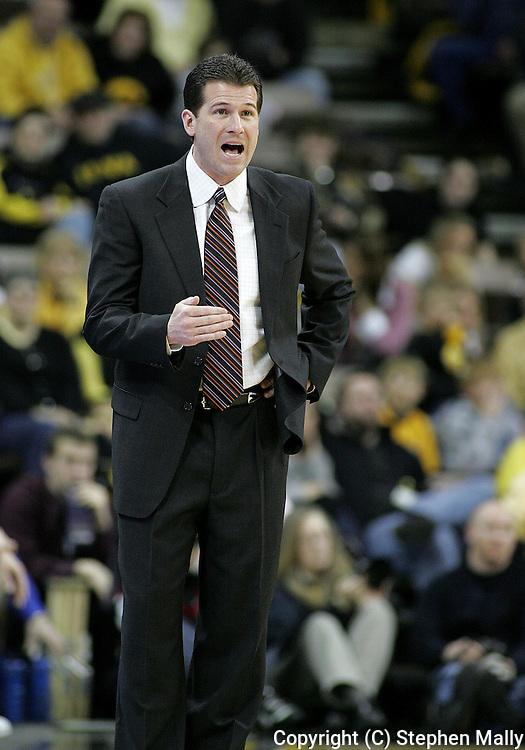 15 FEBRUARY 2007: Iowa head coach Steve Alford in Iowa's 66-58 win over Northwestern at Carver-Hawkeye Arena in Iowa City, Iowa on February 15, 2007.