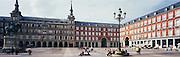 Tourists enjoy the Plaza Mayor in Madrid, Spain.