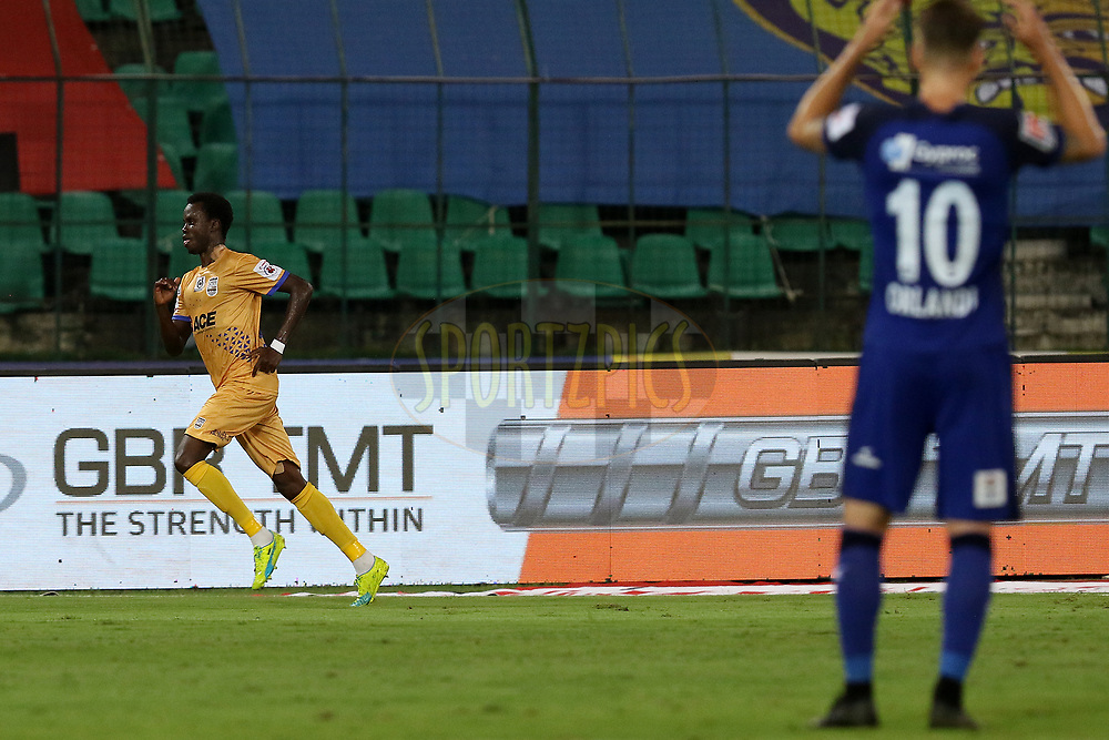 Modou Sougou of Mumbai City FC celebrates after scoring a goal during match 27 of the Hero Indian Super League 2018 ( ISL ) between Chennaiyin FC  and Mumbai City FC  held at the Jawaharlal Nehru Stadium, Chennai, India on the 3rd November 2018<br /> <br /> Photo by: Faheem Hussain /SPORTZPICS for ISL