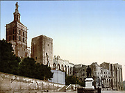 The Pope's Castle (Palais des Papes), Avignon, France. Built between 1335–1364. Large and in the Gothic Style.