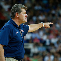09 August 2012: USA head coach Geno Auriemma reacts during 86-73 Team USA victory over Team Australia, during the women's basketball semi-finals, at the 02 Arena, in London, Great Britain.