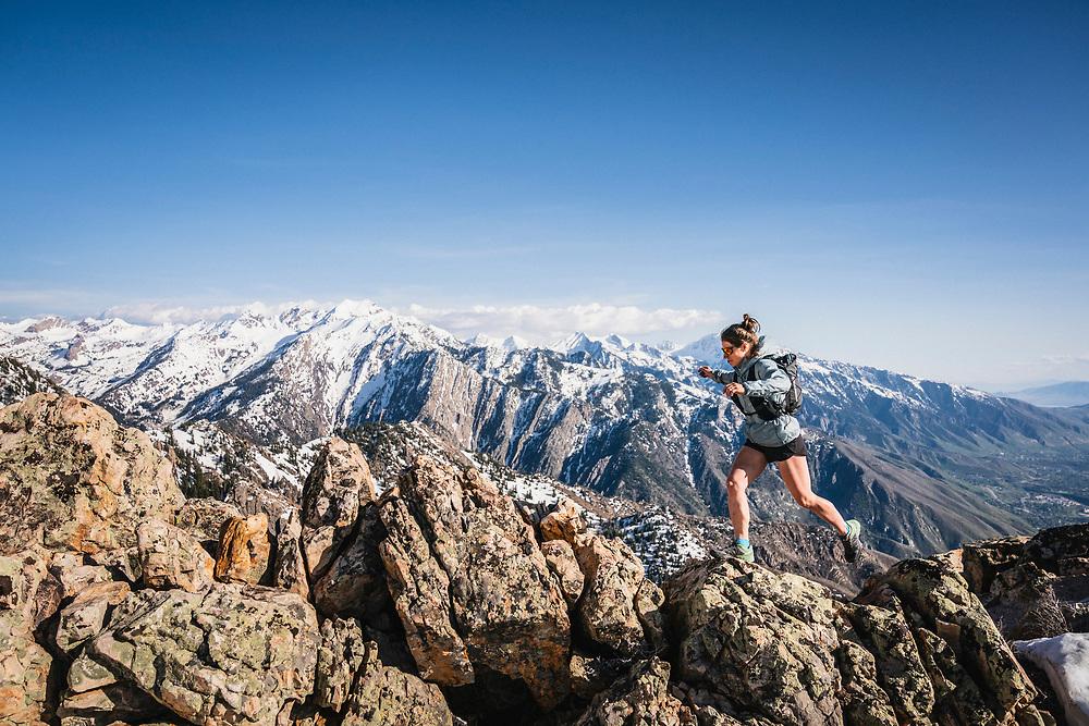Hillary Gerardi playing on Mount Olympus, Wasatch Range, Utah.