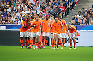Kenny Tete (NDL) scored a goal and celebrated it team during the UEFA Nations League, League A, Group 1 football match between France and Netherlands on September 9, 2018 at Stade de France stadium in Saint-Denis near Paris, France - Photo Stephane Allaman / ProSportsImages / DPPI