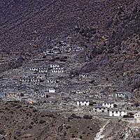 HIMALAYA, NEPAL. Dramo, a small Sherpa village between Namche Bazaar and Thami, photographed in 1979.