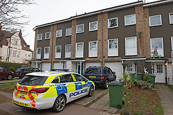 © Licensed to London News Pictures 21/01/2021.        Greenwich, UK. Police remain at the property today. A 23 year old man from Bexleyheath has been charged with the murder of a 74 year old man who was found with a knife injury inside a residential property in Mottingham, Greenwich, South East London on Tuesday 19th. Photo credit:Grant Falvey/LNP