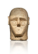 9th century BC Giants of Mont'e Prama Nuragic stone head from the statue of a boxer, Mont'e Prama archaeological site, Cabras. Museo archeologico nazionale, Cagliari, Italy. (National Archaeological Museum) - White Background .<br />  <br /> If you prefer to buy from our ALAMY STOCK LIBRARY page at https://www.alamy.com/portfolio/paul-williams-funkystock/nuragic-artefacts.html - Type intoo the LOWER SEARCH WITHIN GALLERY box to refine search by adding background colour, etc<br /> <br /> Visit our NURAGIC PHOTO COLLECTIONS for more photos to download or buy as wall art prints https://funkystock.photoshelter.com/gallery-collection/Nuragic-Nuraghe-Towers-Nuragic-Artefacts-of-Sardinia-Pictures-Images/C0000M6ZtTuHVsSo