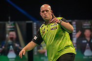Michael van Gerwen (Netherlands) celebrates, reacts, during the Betway Premier League Darts Night Eight at Marshall Arena, Milton Keynes, United Kingdom on 21 April 2021