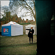 The media, politicians and the public mix in and around Abingdon Street Gardens, more commonly known as College Green, in Westminster, London, UK, during the BREXIT turmoil after the UK voted to Leave the EU after a 2016 Referendum.<br /> Photo shows College Green following a tense Parliamentary session on the Prime Minister's BREXIT deal in The House of Commons. <br /> Photo ©Steve Forrest/Workers' Photos