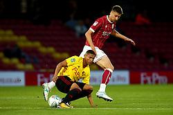 Jens Hegeler of Bristol City tackles Jose Holebas of Watford - Mandatory by-line: Robbie Stephenson/JMP - 22/08/2017 - FOOTBALL - Vicarage Road - Watford, England - Watford v Bristol City - Carabao Cup