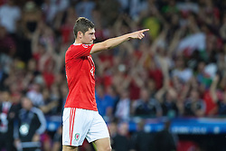 TOULOUSE, FRANCE - Monday, June 20, 2016: Wales' Ben Davies points during the final Group B UEFA Euro 2016 Championship match against Russia at Stadium de Toulouse. (Pic by Paul Greenwood/Propaganda)