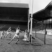 27/03/1966<br /> 03/27/1966<br /> 27 March 1966<br /> National Hurling League, Division II: Antrim v Kerry at Croke Park, Dublin.<br /> Kerry's fourth goal was score by D. Lovett (not in picture), . The antrim goalie, D. O'Neill is on the ground.