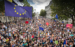 © Licensed to London News Pictures. 31/08/2019. London, UK. Demonstrators on the Stop The Coup march fill Whitehall as they protest against the government's plans to close Parliament early ahead of the party conference season. Photo credit: Peter Macdiarmid/LNP