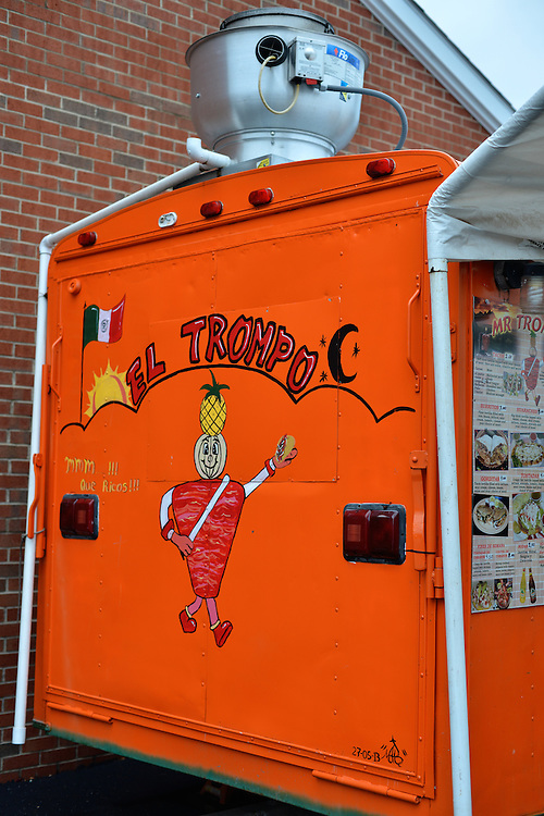 Sign on the side of Mr. Trompo food truck.