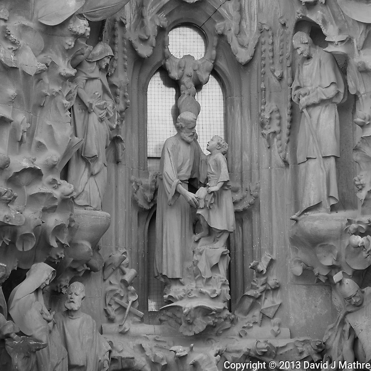 Detail in the Sagrada Familia Cathedral in Barcelona, Spain. Image taken with a Nikon 1 V2 camera and 10-100 mm VR lens (ISO 160, 100 mm, f/5.6, 1/100 sec). Converted to B&W with Capture One Pro 7.