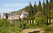 Generalife gardens and summer palace buildings, Alhambra, Granada, Spain