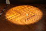 sliding door opening and parquet floor with spotlight