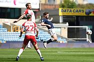 Bristol City Defender Tomáš Kalas (22)  Bristol City Defender Nathan Baker (6)  and Millwall Forward Tom Bradshaw(9) battles for possession during the EFL Sky Bet Championship match between Millwall and Bristol City at The Den, London, England on 1 May 2021.