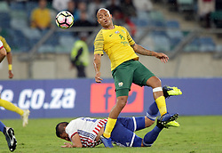 20112018 (Durban)<br /> Dino Ndlovu tackle a ball during a mactch were Bafana Bafana and Paraguay have drawn 1-1 in the Nelson Mandela Challenge match played at Moses Mabhida Stadium in Durban on Tuesday evening.<br /> Picture: Motshwari Mofokeng/African News Agency (ANA)