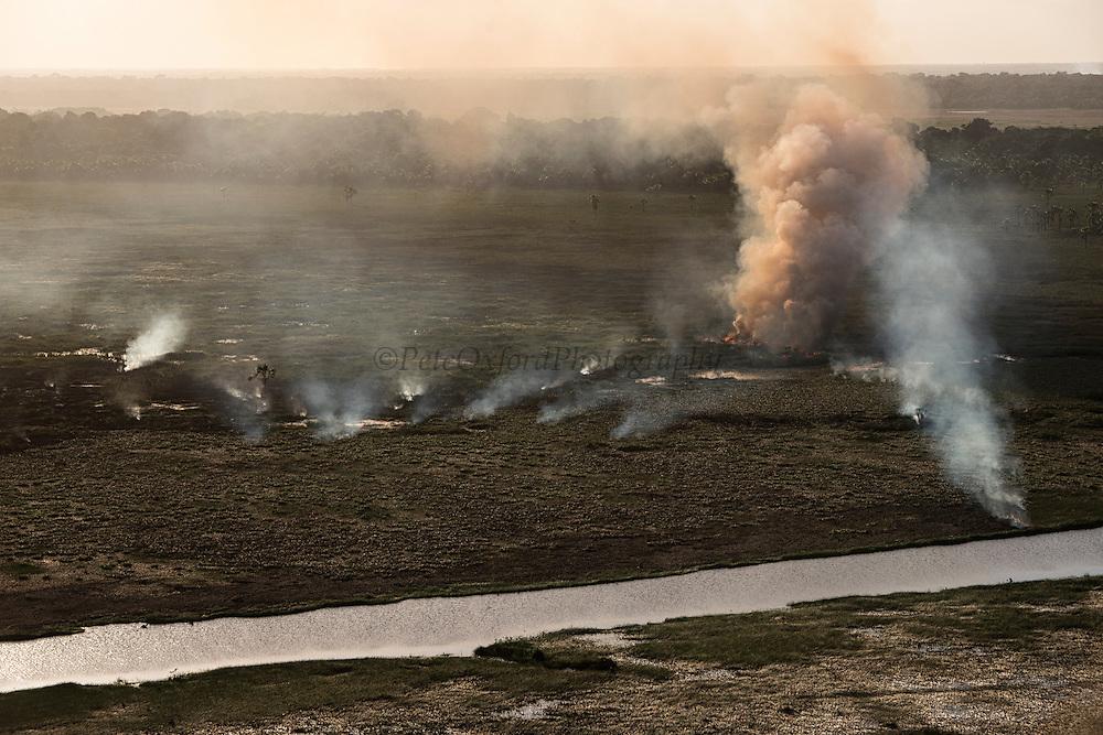 Fire in wetland<br /> East Demerara Conservancy<br /> East of Georgetown<br /> GUYANA<br /> South America