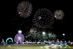 January 26, 2019 - Daytona, FL, U.S. - DAYTONA, FL - JANUARY 26: Fireworks light up the sky during the Rolex 24 at Daytona on January 26, 2019 at Daytona International Speedway in Daytona Beach, Fl. (Photo by David Rosenblum/Icon Sportswire) (Credit Image: © David Rosenblum/Icon SMI via ZUMA Press)