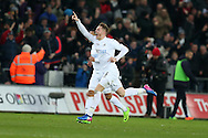 Alfie Mawson of Swansea city (6) celebrates after he scores his teams 1st goal. Premier league match, Swansea city v Leicester City at the Liberty Stadium in Swansea, South Wales on Sunday 12th February 2017.<br /> pic by Andrew Orchard, Andrew Orchard sports photography.