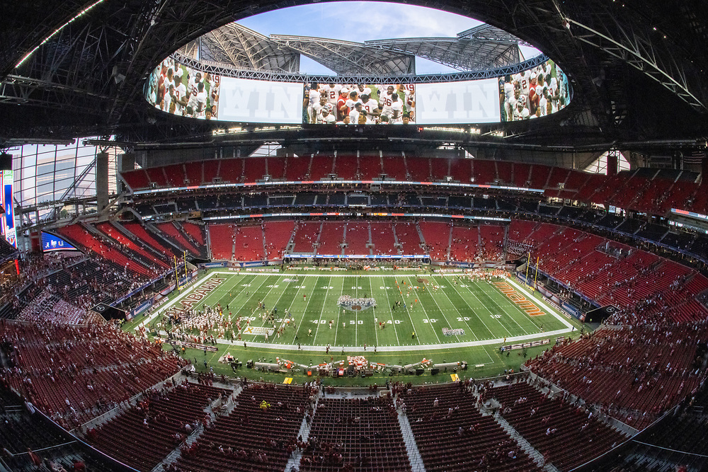 General interior, wide remote cameraduring the 2021 Chick-fil-A Kickoff Game between the Alabama Crimson Tide and the Miami Hurricanes, Sept. 4, 2021, in Atlanta. (Paul Abell via Abell Images for the Chick-fil-A Kickoff Game)